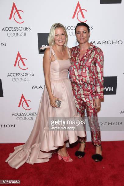 Footwear designer Jessie Randall and Garance Dore pose backstage with the Brand of the Year Award at the Accessories Council's 21st Annual...