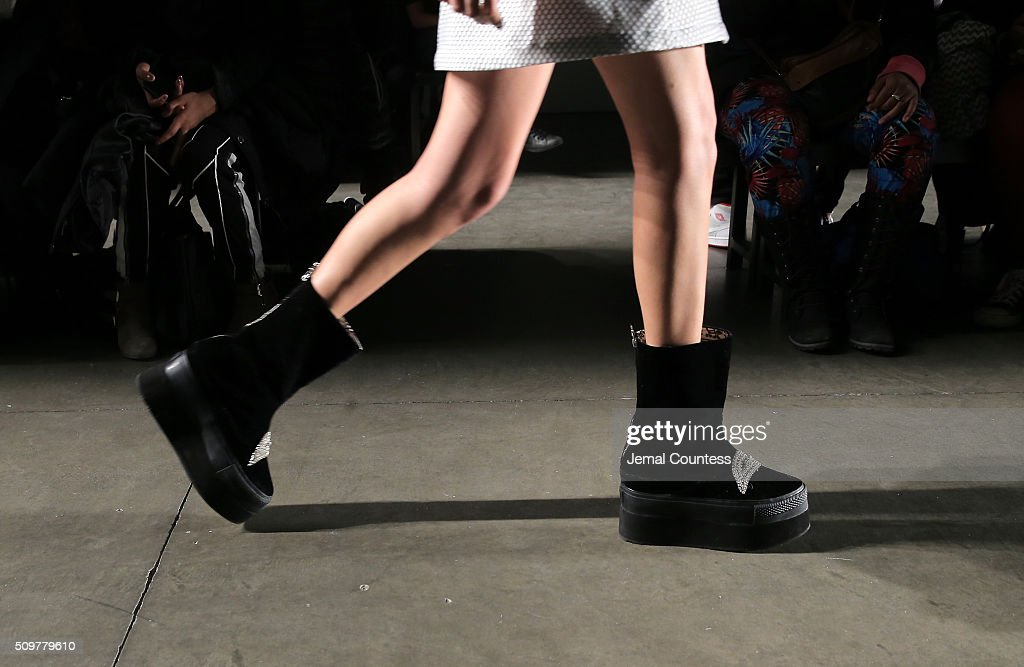 Footwear detail as a model walks the runway wearing iiJin Fall 2016 during New York Fashion Week at Pier 59 on February 12, 2016 in New York City.