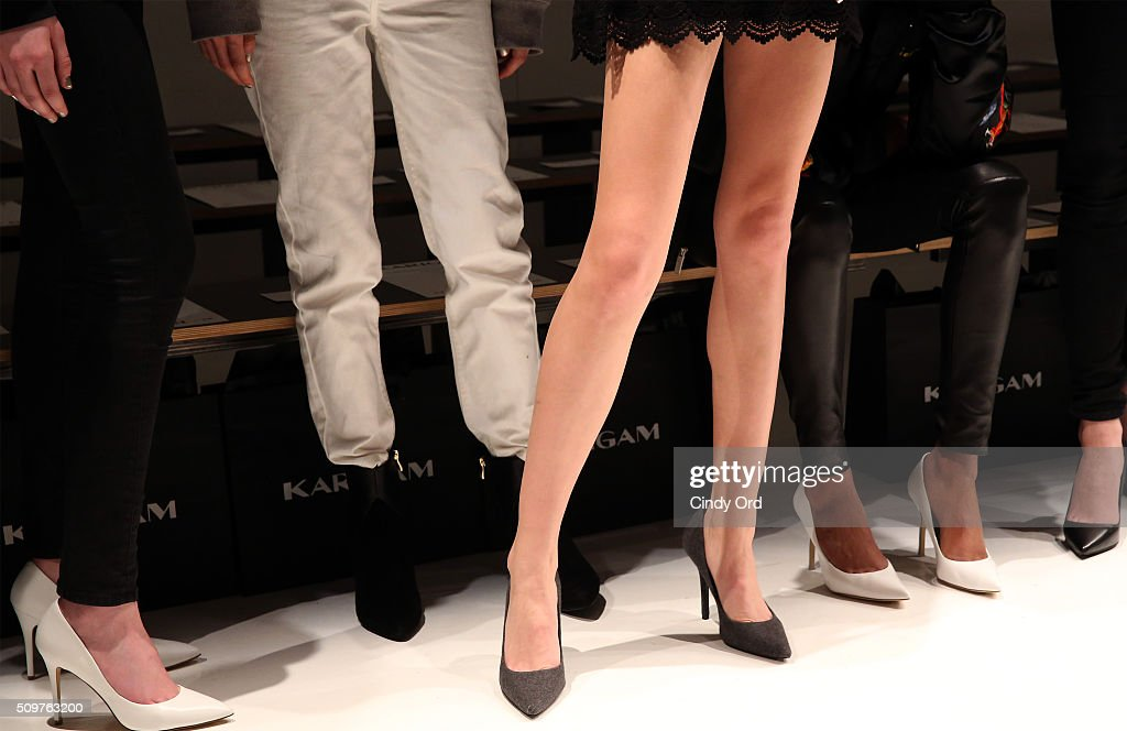 Footwear detail as models prepare backstage at the Karigam Fall 2016 fashion show during New York Fashion Week: The Shows at The Space, Skylight at Clarkson Sq on February 12, 2016 in New York City.