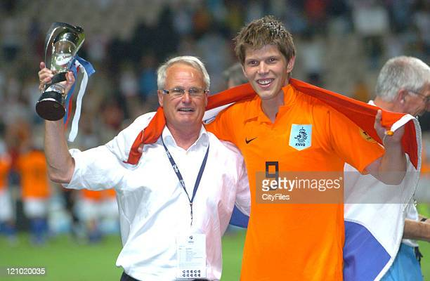 Foppe de Hann and Klaas Jan Huntelaar celebrating during the 2006 UEFA European Under21 Championship Final Netherlands vs Ukraine Netherlands won 30