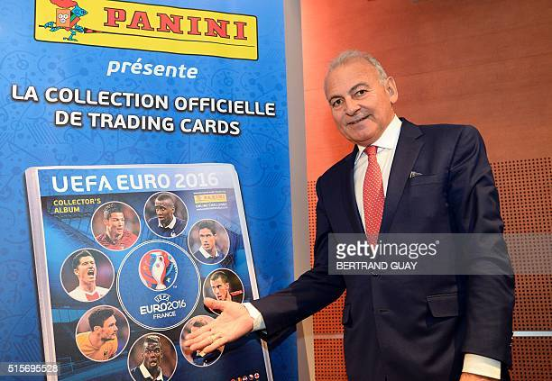 CO for France of Italian company Panini Alain Guerrini presents the new collection of football trading cards 'UEFA EURO 2016' on March 15 2016 in...