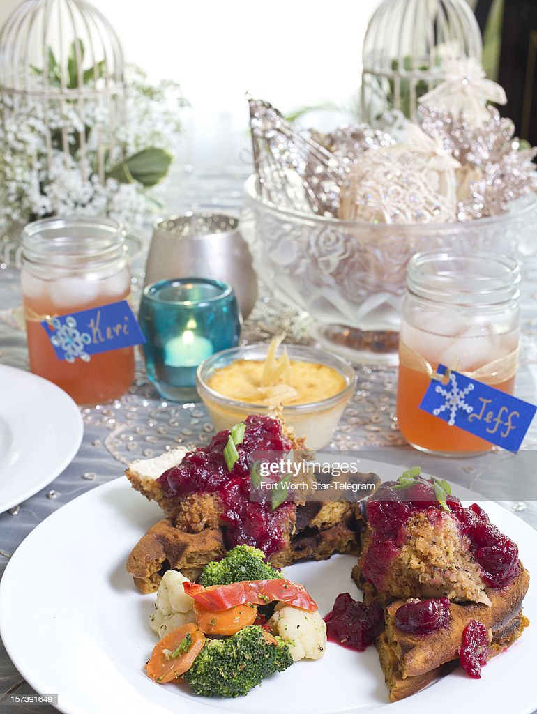 For holiday entertaining try showering your guests with comforts in a Casual Southern theme serving pumpkin waffles and chicken with an orange cranberry compote and vegetable medley.