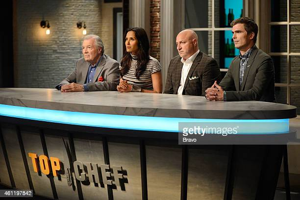 TOP CHEF 'For Julia Jacques' Episode 1210 Pictured Jacques Pepin Padma Lakshmi Tom Colicchio Hugh Acheson