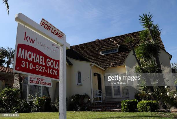 A for lease sign is posted in front of a home on February 1 2017 in Los Angeles California According to the Consumer Price Index rental prices in...