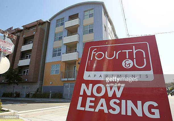 A 'for lease' sign is posted in front of the Fourth and U apartments on June 15 2012 in Berkeley California According to a report by Harvard...