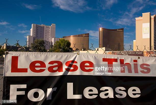 A 'for lease' sign is put up on a vacant Convention Center Drive lot on October 25 2011 in Las Vegas Nevada Though tourism is slowly making a...
