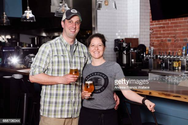 TORONTO ON MAY 19 For NewBusiness profile Eastbound Brewing Dave and Tara Lee pose at the Queen St E business May 19 2017