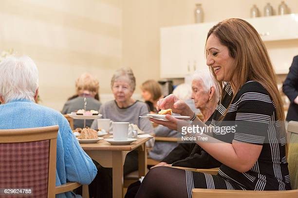 MP for Ochil and South Perthshire Tasmina AhmedSheikh meets with residents as she visitis The Birches care home in her constituency on December 9...