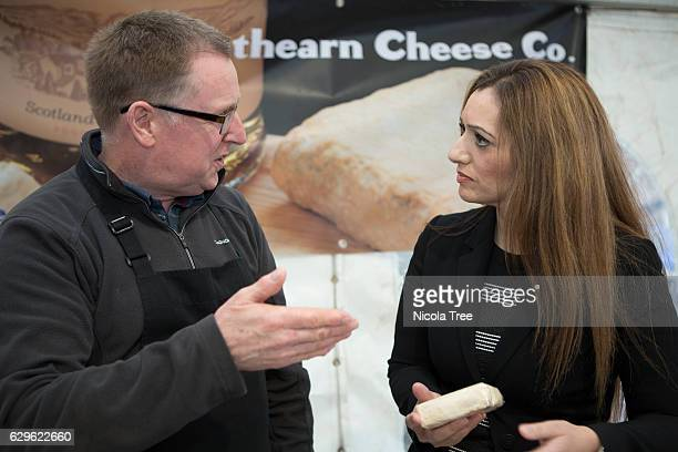 MP for Ochil and South Perthshire Tasmina AhmedSheikh visits Strathearn Cheese at Crieff Christmas market in her constituency on December 9 2016 in...