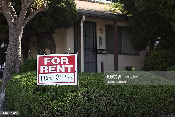 A 'for rent' sign is posted in front of a house on June 15 2012 in Richmond California According to a report by Harvard University's Joint Center for...