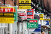 For Sale and To Let boards advertise properties in Selly Oak on 29 January 2007 in Birmingham England House prices in Britain are to rise by up to...