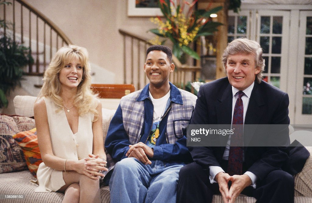 AIR, THE -- 'For Sale By Owner' Episode 25 -- Pictured: (l-r) Marla Maples as Herself, Will Smith as William 'Will' Smith, Donald Trump as Himself,