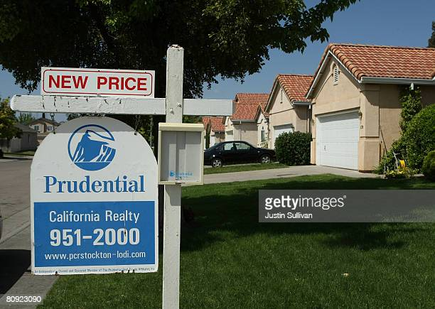 A for sale sign advertises a reduced price in front of homes for sale April 29 2008 in Stockton California As the nation continues to see widespread...