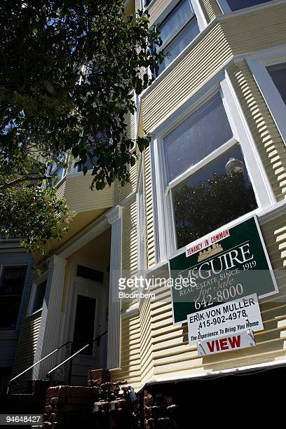A for sale sign advertising a Tenancy in Common hangs on a house in the HaightAshbury district of San Francisco California on Wednesday August 15...