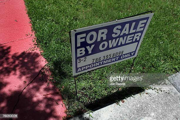 For Sale sign is displayed in front of a home August 10 2007 in Miami Florida The stock market remained volatile as Wall Street contended with...