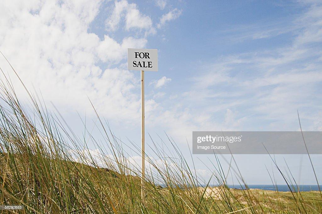 For sale sign near the coast : Stock Photo