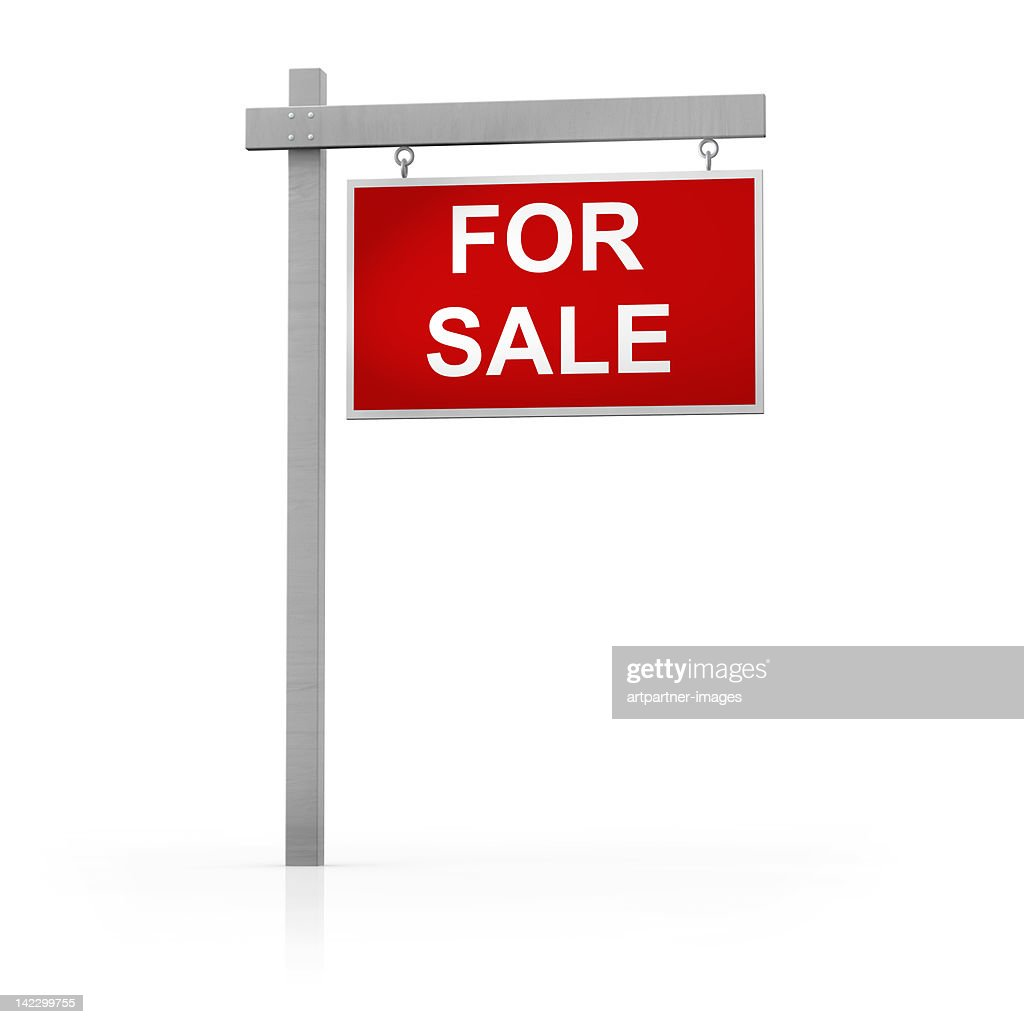 For Sale sign on white background