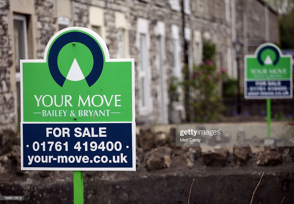 For sale signs are displayed outside houses on May 20, 2010 in Radstock, England. The new coalition government announced today, that as of midnight tonight, home sellers will no longer need to pay for a Hip when putting their property on the market. Hips, have been controversial since they were introduced in 2007 and are mandatory for anyone selling a home. Estate agents have claimed they add unnecessary red tape to the selling process, and cost sellers an additional 200-400 GBP. However the Association of Home Information Pack Providers claim between 3,000 and 10,000 people livelihoods now depend on Hips.