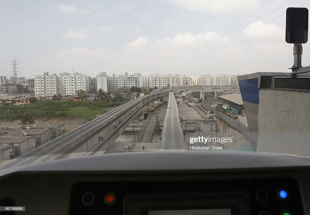 For the first time a mono rail train took passengers as a trial run from Wadala to Chembur on February 16, 2013 in Mumbai, India. The 19.54 km long Chembur-Wadala-Jacob Circle monorail project will be the country's first monorail route and is expected to be operational by August this year.