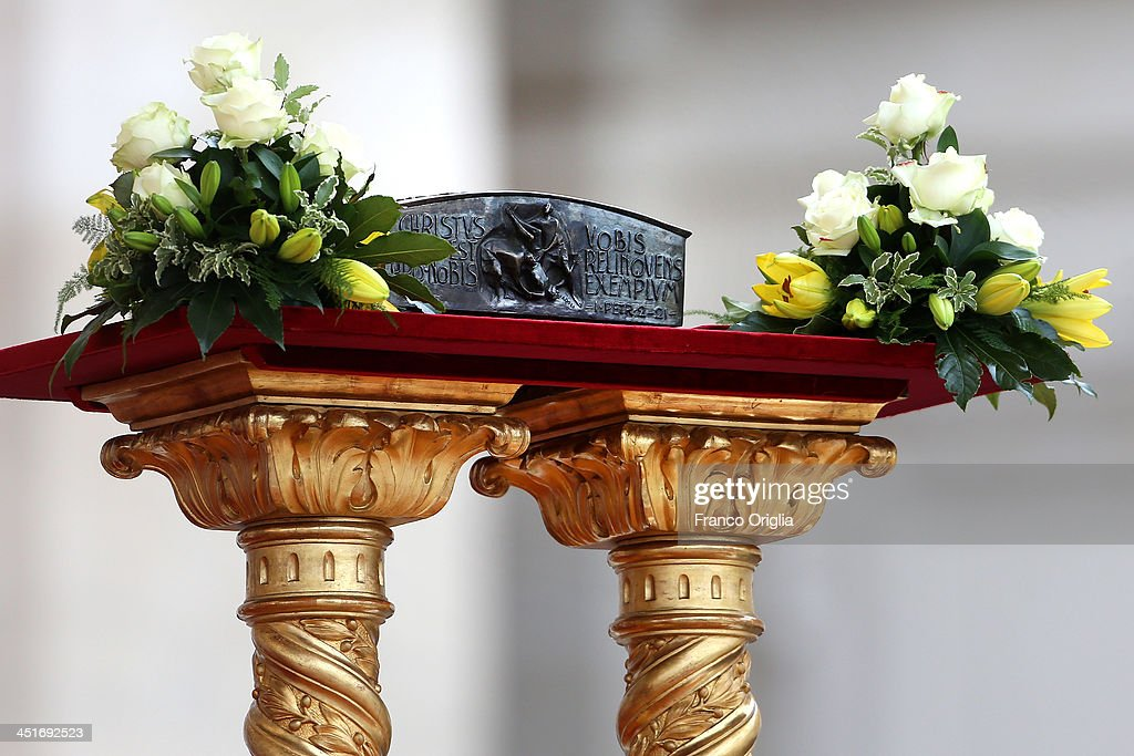 For the first time in nearly 2,000 years relics of St. Peter apostle (fragments of bone) are displayed in for the veneration of believers during the end of the Solemnity of Christ the King in St. Peter's square on November 24, 2013 in Vatican City, Vatican. Today's solemnity of Our Lord Jesus Christ, King of the Universe, the crowning of the liturgical year, marks the conclusion of the Year of Faith proclaimed earlier by Pope emeritus Benedict XVI in the last year of his reign.