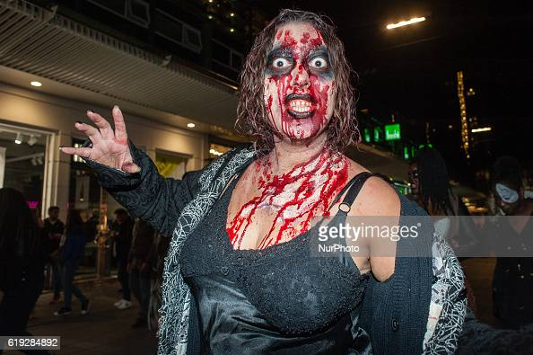 For the third time the Zombie walk took place on October 29 in Rotterdam started at the Schouwburgplein Hundreds of zombies staggered through the...