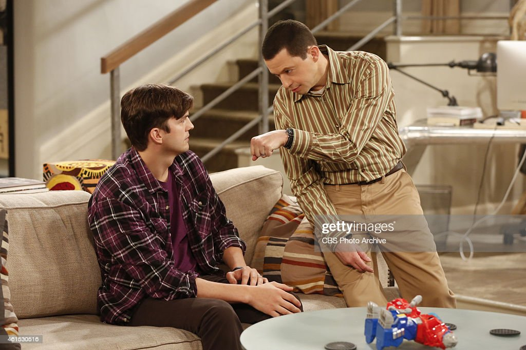 'For Whom The Booty Calls' -- Walden joins a group for adoptive fathers, but finds it to be a nice escape from Alan as well, on TWO AND A HALF MEN, Thursday, Jan 22 (9:00-9:30PM, ET/PT), on the CBS Television Network. Pictured L-R: <a gi-track='captionPersonalityLinkClicked' href=/galleries/search?phrase=Ashton+Kutcher&family=editorial&specificpeople=202015 ng-click='$event.stopPropagation()'>Ashton Kutcher</a> as Walden Schmidt and <a gi-track='captionPersonalityLinkClicked' href=/galleries/search?phrase=Jon+Cryer&family=editorial&specificpeople=213483 ng-click='$event.stopPropagation()'>Jon Cryer</a> as Alan Harper