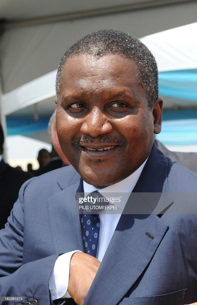 Forbes African's richest man Aliko Dangote arrives to attend, on February 21, 2013, the inauguration ceremony for the first phase of the Eko Atlantic real estate project, in Lagos, Nigeria. Eko Atlantic or Eko Atlantic City is a planned district of Lagos, Nigeria, being constructed on land reclaimed from the Atlantic Ocean. It will house some 250,000 people and be a workplace for another 150,000.