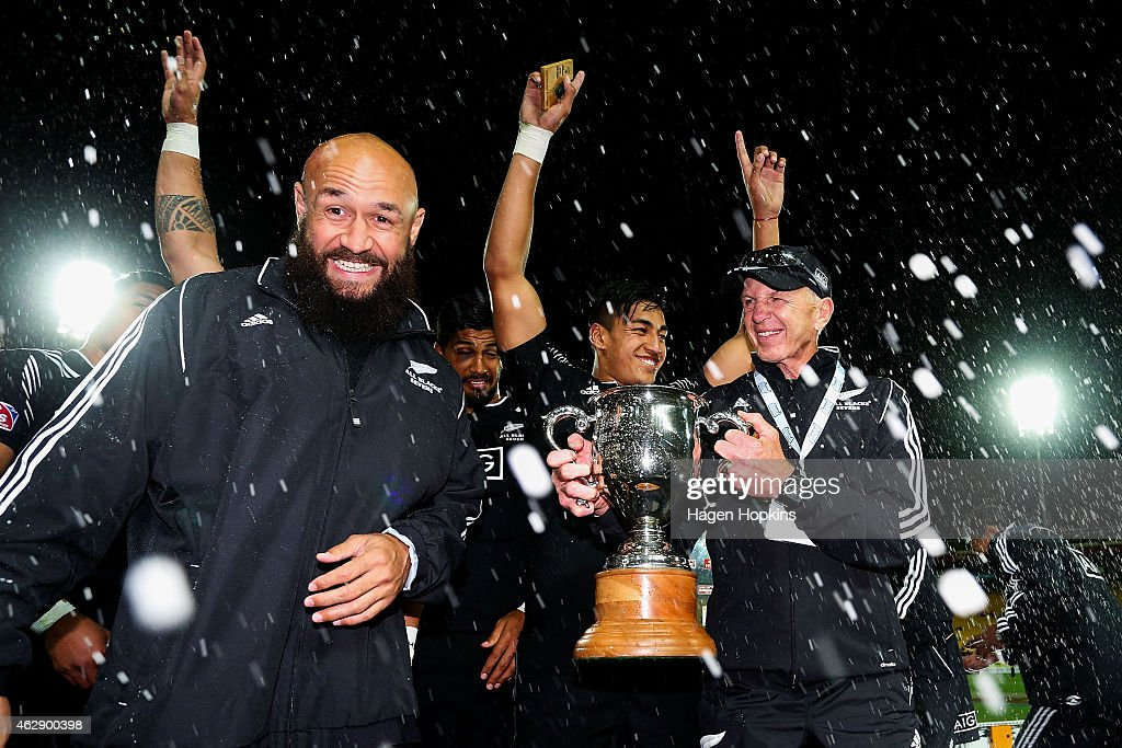 Forbes and coach Sir Gordon Tietjens celebrate after winning the cup final between England and New Zealand in the 2015 Wellington Sevens at Westpac Stadium on February 7, 2015 in Wellington, New Zealand.