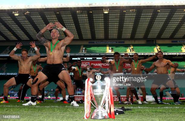 Forbes Captain of New Zealand leads his team in a Haka after winning the HSBC Sevens World Series XIII Cup Final after day two of the IRB London...