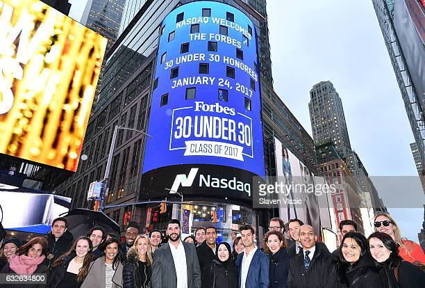 Forbes magazine editor Randall Lane CEO of Lokai Steven Izen with participating members of 2017 ForbesÕ 30 Under 30 list Sean Petterson Strong Arm...