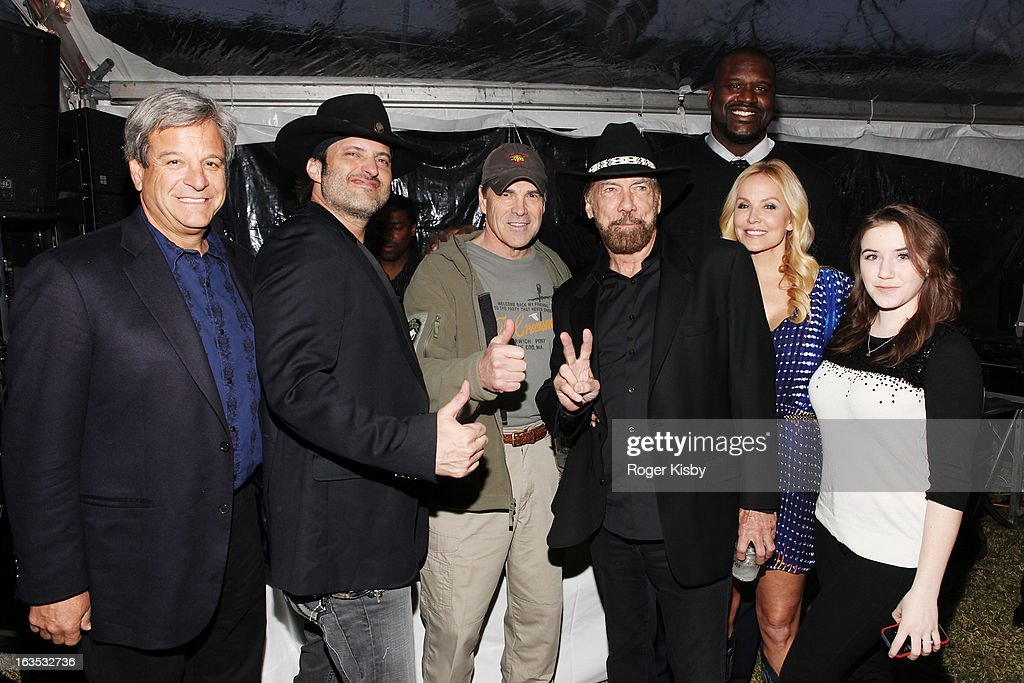 Forbes Media CEO Mike Perlis, Robert Rodriguez, Texas Governor Rick Perry, John Paul DeJoria, Shaquille O'Neal, Eloise DeJoria, and Marcie Madison attend Forbes' '30 Under 30' SXSW Private Party on March 11, 2013 in Austin, Texas.