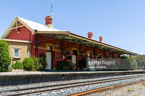 An arts and crafts shop on an antique railway station and platform in a rural town.
