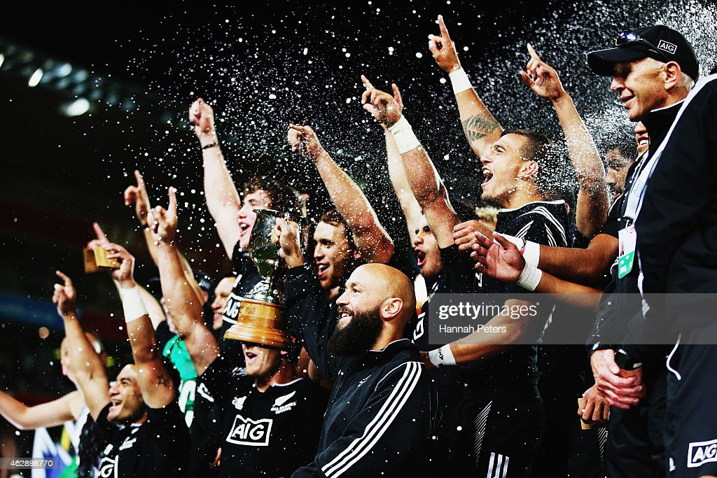 <a gi-track='captionPersonalityLinkClicked' href=/galleries/search?phrase=DJ+Forbes&family=editorial&specificpeople=4217962 ng-click='$event.stopPropagation()'>DJ Forbes</a> of new Zealand celebrates with his team after winning the Cup Final match between New Zealand and England in the 2015 Wellington Sevens at Westpac Stadium on February 7, 2015 in Wellington, New Zealand.