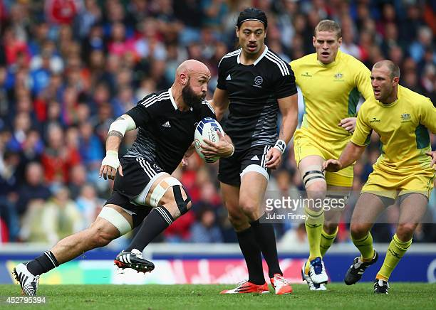 Forbes of New Zealand in action in the semi final match between New Zealand and Australia during the Rugby Sevens at Ibrox Stadium during day four of...