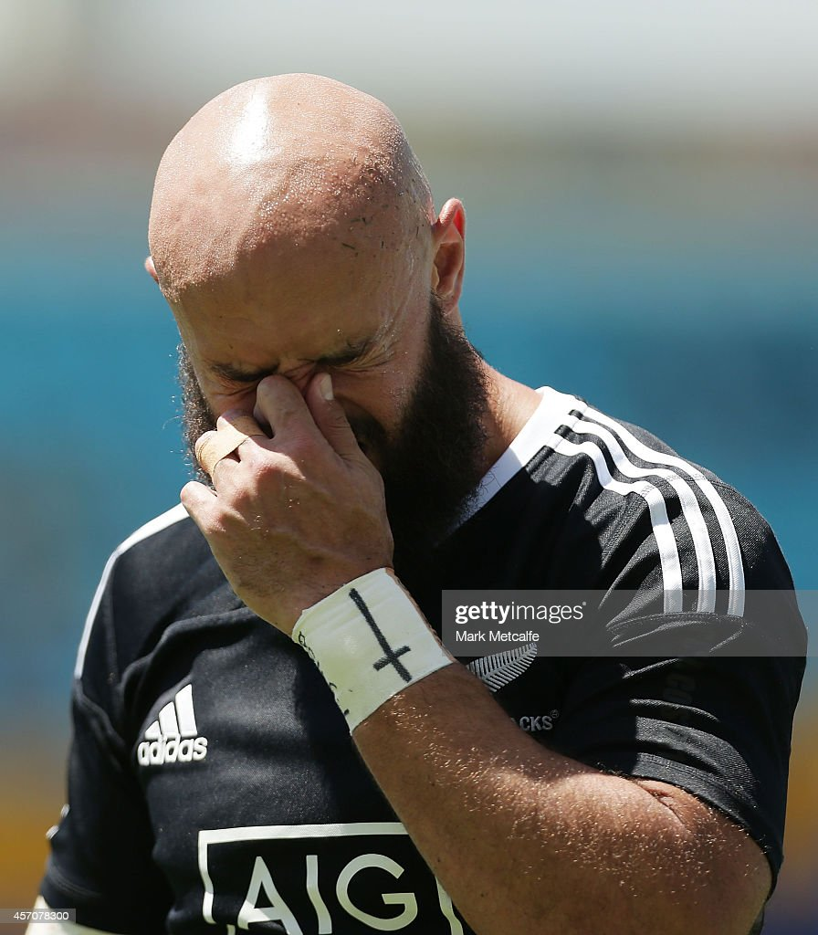 Forbes of New Zealand looks dejected after defeat in the 2014 Gold Coast Sevens Cup quarter-final match between New Zealand and England at Cbus Super Stadium on October 12, 2014 in Gold Coast, Australia.