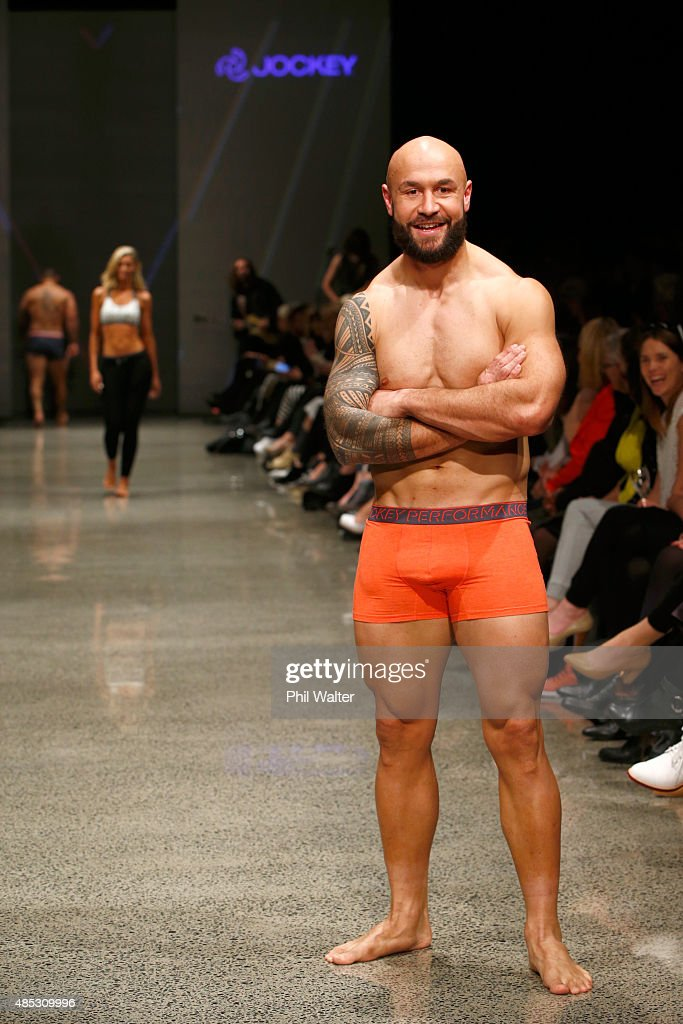 <a gi-track='captionPersonalityLinkClicked' href=/galleries/search?phrase=DJ+Forbes&family=editorial&specificpeople=4217962 ng-click='$event.stopPropagation()'>DJ Forbes</a> of the All Blacks Sevens walks in the Jockey show at New Zealand Fashion Week 2015 on August 27, 2015 in Auckland, New Zealand.