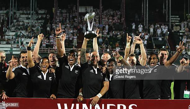 Forbes the New Zealand captain celebrates with the New Zealand squad after their win over Samoa in the final of the IRB Sevens tournament at the...