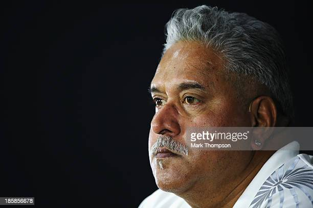 Force India Chairman Vijay Mallya attends the official press conference following practice for the Indian Formula One Grand Prix at Buddh...