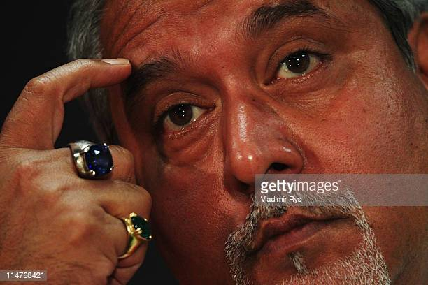 Force India Chairman Vijay Mallya attends the press conference following practice for the Monaco Formula One Grand Prix at the Monte Carlo Circuit on...