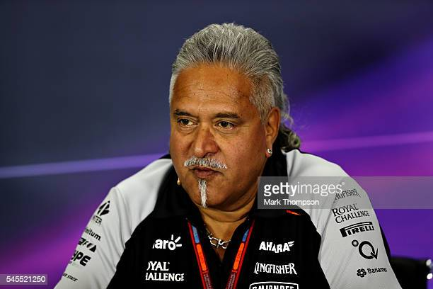 Force India Chairman Vijay Mallya in the Team Principals Press Conference during practice for the Formula One Grand Prix of Great Britain at...