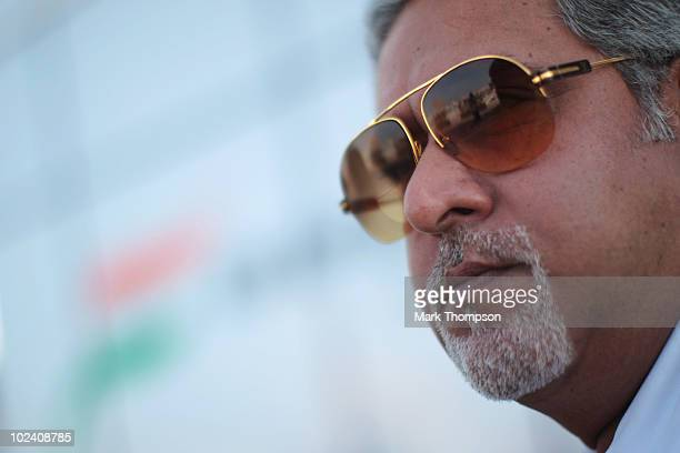 Force India team owner Dr Vijah Mallya is seen during practice for the European Formula One Grand Prix at the Valencia Street Circuit on July 25 in...