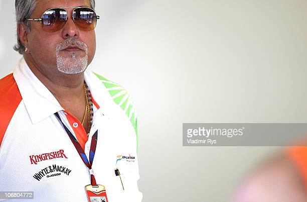 Force India team owner Dr Vijah Mallya is seen during qualifying for the Abu Dhabi Formula One Grand Prix at the Yas Marina Circuit on November 13...