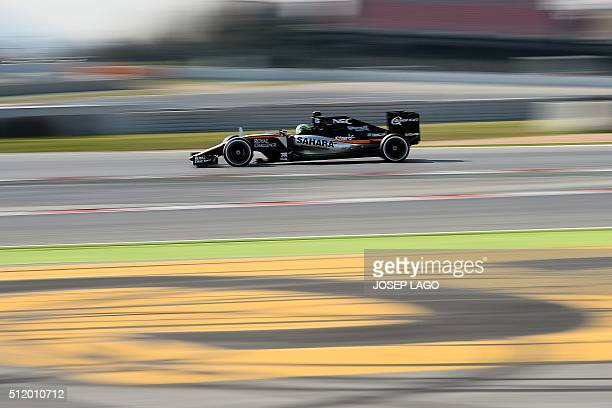 Force India team's German driver Nico Hulkenberg drives at the Circuit de Catalunya on February 24 2016 in Montmelo on the outskirts of Barcelona on...