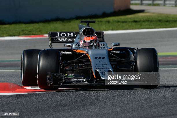 Force India's French driver Esteban Ocon drives at the Circuit de Barcelona Catalunya on March 7 2017 in Montmelo on the outskirts of Barcelona...