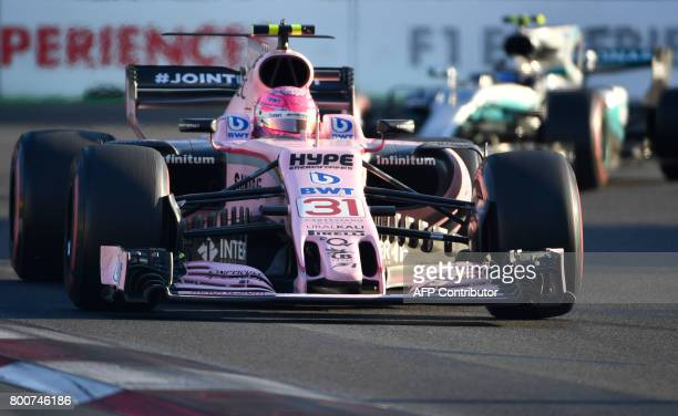 Force India's French driver Esteban Ocon steers his car during the Formula One Azerbaijan Grand Prix at the Baku City Circuit in Baku on June 25 2017...