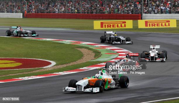 Force India's Paul di Resta leads the pack during the Formula One Santander British Grand Prix at Silverstone Circuit Northampton