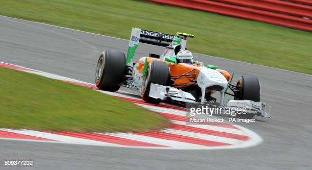 Force India's Paul Di Resta on his way to Qualifying 6th during Qualifying day for the Formula One Santander British Grand Prix at Silverstone...