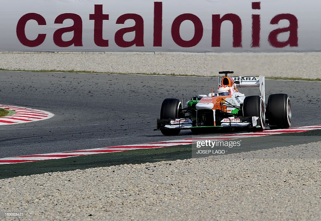 Force India's Scottish driver Paul di Resta drives during the Formula One test days at Catalunya's racetrack in Montmelo, near Barcelona, on March 3, 2013. .
