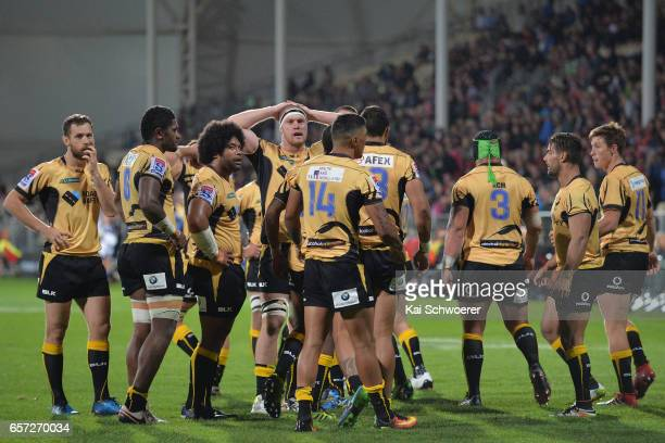 Force players reacting during the round five Super Rugby match between the Crusaders and the Force at AMI Stadium on March 24 2017 in Christchurch...
