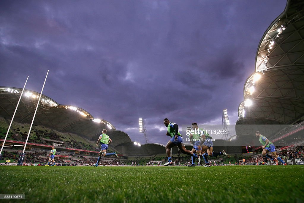 Force reserve players warm up during the round 14 Super Rugby match between the Rebels and the Force at AAMI Park on May 29, 2016 in Melbourne, Australia.